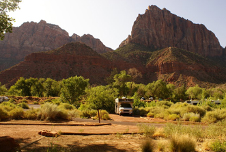 Zion NP, notre emplacement au Watchman Campground